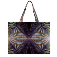 Color Fractal Symmetric Wave Lines Zipper Mini Tote Bag by Simbadda