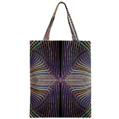 Color Fractal Symmetric Wave Lines Zipper Classic Tote Bag by Simbadda