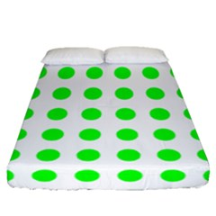 Polka Dot Green Fitted Sheet (queen Size) by Mariart