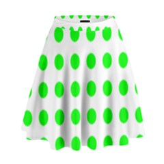 Polka Dot Green High Waist Skirt by Mariart