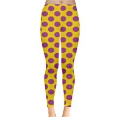 Polka Dot Purple Yellow Orange Leggings  by Mariart