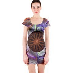 Background Image With Hidden Fractal Flower Short Sleeve Bodycon Dress