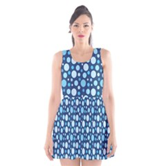 Polka Dot Blue Scoop Neck Skater Dress by Mariart