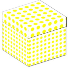 Polka Dot Yellow White Storage Stool 12   by Mariart