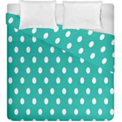 Polka Dots White Blue Duvet Cover Double Side (king Size) by Mariart