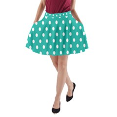 Polka Dots White Blue A Line Pocket Skirt by Mariart