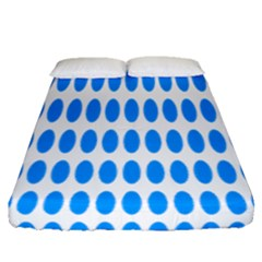 Polka Dots Blue White Fitted Sheet (queen Size) by Mariart