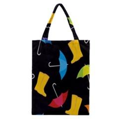Rain Shoe Boots Blue Yellow Pink Orange Black Umbrella Classic Tote Bag by Mariart