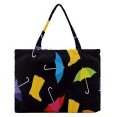 Rain Shoe Boots Blue Yellow Pink Orange Black Umbrella Medium Zipper Tote Bag by Mariart