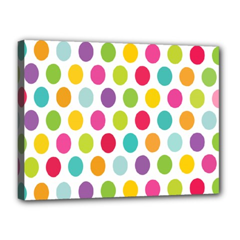 Polka Dot Yellow Green Blue Pink Purple Red Rainbow Color Canvas 16  X 12  by Mariart