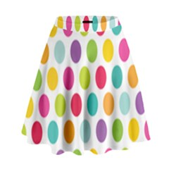 Polka Dot Yellow Green Blue Pink Purple Red Rainbow Color High Waist Skirt by Mariart