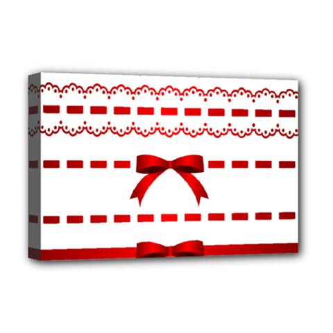 Ribbon Red Line Deluxe Canvas 18  X 12   by Mariart