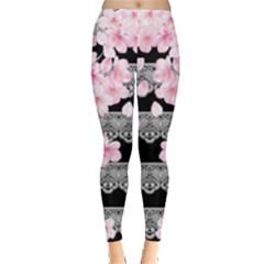 Flower Pattern Leggings  by PattyVilleDesigns