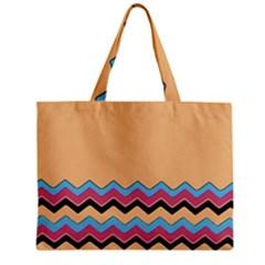 Chevrons Patterns Colorful Stripes Background Art Digital Zipper Mini Tote Bag by Simbadda