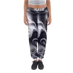 Fractal Black Liquid Art In 3d Glass Frame Women s Jogger Sweatpants