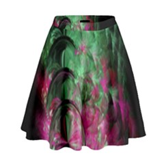 Pink And Green Shapes Make A Pretty Fractal Image High Waist Skirt by Simbadda