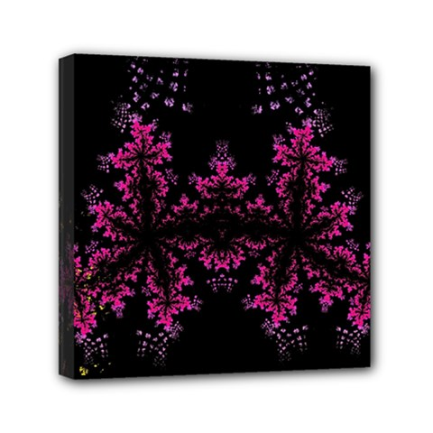 Violet Fractal On Black Background In 3d Glass Frame Mini Canvas 6  X 6  by Simbadda