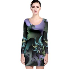 Fractal Image With Sharp Wheels Long Sleeve Velvet Bodycon Dress by Simbadda