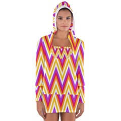 Colorful Chevrons Zigzag Pattern Seamless Women s Long Sleeve Hooded T Shirt