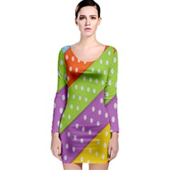 Colorful Easter Ribbon Background Long Sleeve Bodycon Dress by Simbadda