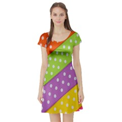 Colorful Easter Ribbon Background Short Sleeve Skater Dress by Simbadda