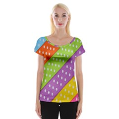 Colorful Easter Ribbon Background Women s Cap Sleeve Top by Simbadda
