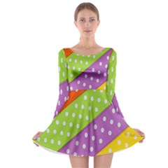 Colorful Easter Ribbon Background Long Sleeve Skater Dress by Simbadda
