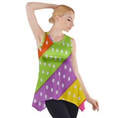 Colorful Easter Ribbon Background Side Drop Tank Tunic by Simbadda