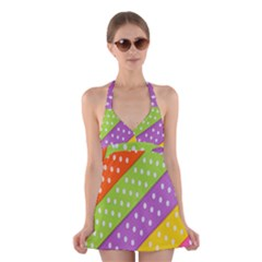Colorful Easter Ribbon Background Halter Swimsuit Dress by Simbadda