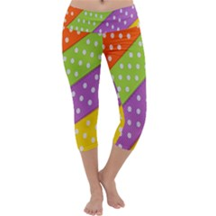 Colorful Easter Ribbon Background Capri Yoga Leggings by Simbadda