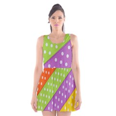 Colorful Easter Ribbon Background Scoop Neck Skater Dress by Simbadda