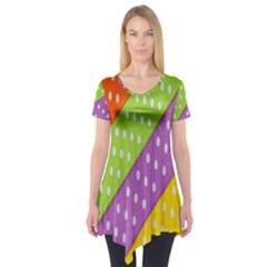 Colorful Easter Ribbon Background Short Sleeve Tunic  by Simbadda