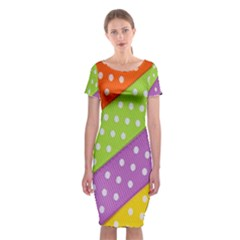 Colorful Easter Ribbon Background Classic Short Sleeve Midi Dress by Simbadda
