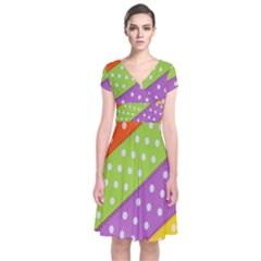 Colorful Easter Ribbon Background Short Sleeve Front Wrap Dress by Simbadda