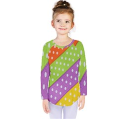 Colorful Easter Ribbon Background Kids  Long Sleeve Tee by Simbadda