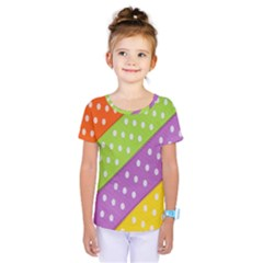 Colorful Easter Ribbon Background Kids  One Piece Tee by Simbadda