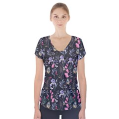 Wildflowers I Short Sleeve Front Detail Top by tarastyle