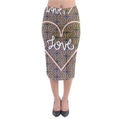 I Love You Love Background Midi Pencil Skirt by Simbadda