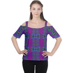Purple Seamless Pattern Digital Computer Graphic Fractal Wallpaper Women s Cutout Shoulder Tee by Simbadda