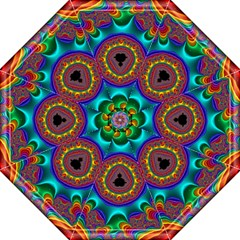 3d Glass Frame With Kaleidoscopic Color Fractal Imag Straight Umbrellas by Simbadda