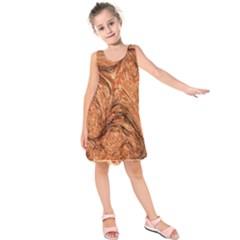 3d Glass Frame With Fractal Background Kids  Sleeveless Dress