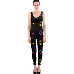 Abstract A Colorful Modern Illustration Black Background Onepiece Catsuit by Simbadda