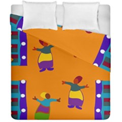 A Colorful Modern Illustration For Lovers Duvet Cover Double Side (california King Size) by Simbadda