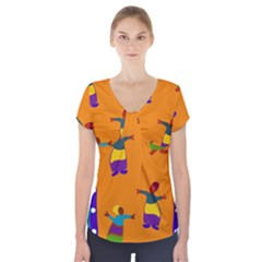 A Colorful Modern Illustration For Lovers Short Sleeve Front Detail Top by Simbadda