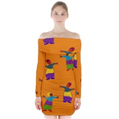 A Colorful Modern Illustration For Lovers Long Sleeve Off Shoulder Dress by Simbadda