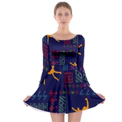 A Colorful Modern Illustration For Lovers Long Sleeve Skater Dress by Simbadda
