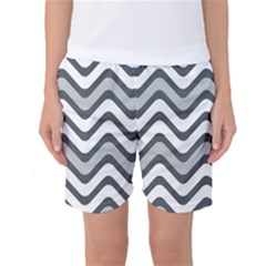 Shades Of Grey And White Wavy Lines Background Wallpaper Women s Basketball Shorts by Simbadda