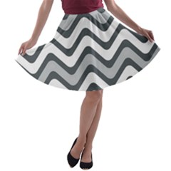 Shades Of Grey And White Wavy Lines Background Wallpaper A-line Skater Skirt by Simbadda