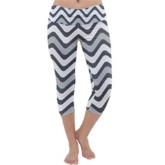 Shades Of Grey And White Wavy Lines Background Wallpaper Capri Yoga Leggings by Simbadda