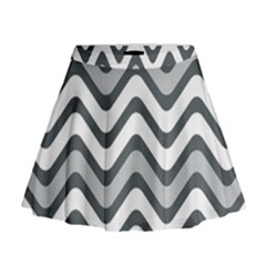 Shades Of Grey And White Wavy Lines Background Wallpaper Mini Flare Skirt